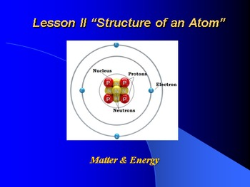 """Introduction to Chemistry Lesson II PowerPoint """"Structure of an Atom"""""""