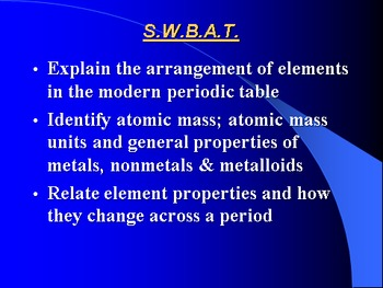 "Introduction to Chemistry Lesson II PowerPoint ""The Modern Periodic Table"""