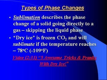 """Introduction to Chemistry Lesson III PowerPoint """"Phase Changes"""""""