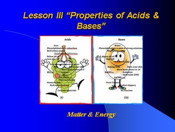 """Introduction to Chemistry Lesson III PowerPoint """"Properties of Acids & Bases"""""""""""