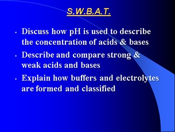 """Introduction to Chemistry Lesson IV PowerPoint """"Strength of Acids & Bases"""""""
