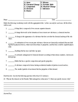 Introduction to Chemistry Quiz