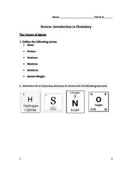 Introduction to Chemistry Review