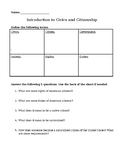 Introduction to Civics Worksheet