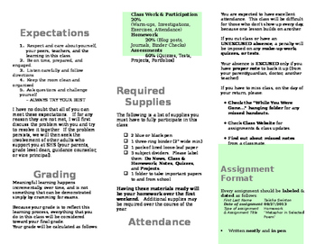 Introduction to Class/ Day 1 Brochure/ Class Rules and Procedures