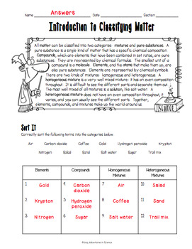introduction to classifying matter worksheet by adventures in science. Black Bedroom Furniture Sets. Home Design Ideas