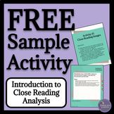 Close Reading & Text Analysis FREE Sample Activity
