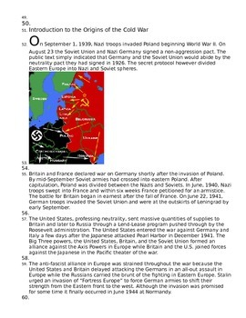 Introduction to Cold War Reading and Question