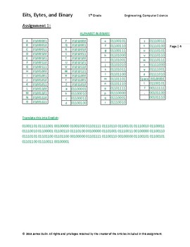 """Introduction to Computer Science Assignment, """"Bits, Bytes, & Binary"""""""