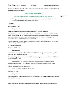 """Introduction to Computer Science Lesson Plan, """"Bits, Bytes, & Binary"""""""