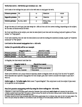Introduction to Conjugation (-AR, -ER, -IR & Irregular Yo Verbs)