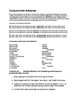 Introduction to Conjunctive Adverbs (Word Document)