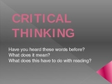 Introduction to Critical Thinking PowerPoint- first days of school