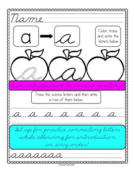 Introduction to Cursive Worksheets - Uppercase and Lowercase - 52 Pages