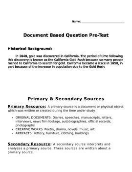 Introduction to DBQs Document Based Questions Pretest