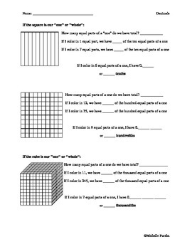 Introduction to Decimal Place Value Worksheet
