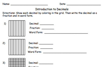 Introduction to Decimals Quiz or Worksheet with Answer Key
