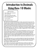 Introduction to Decimals Using Base 10 Blocks