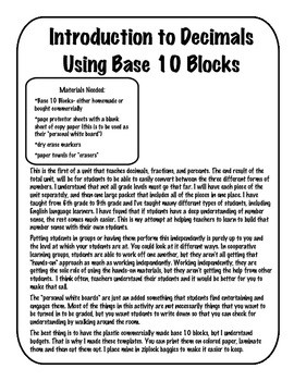 introduction to decimals using base 10 blocks by for the love of teaching math. Black Bedroom Furniture Sets. Home Design Ideas