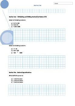 Introduction to Decimals - Written Test