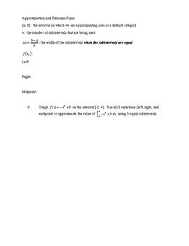 Introduction to Definite Integrals with Rectangle Approximation