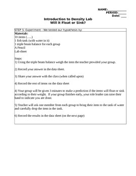 Introduction to Density (Float or Sink Lab)