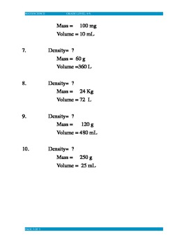 Introduction to Density Practice Problems
