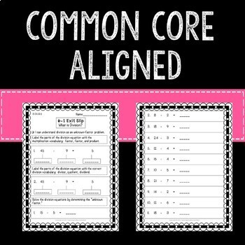 Introduction to Division Math Exit Slips 3rd Grade Common Core