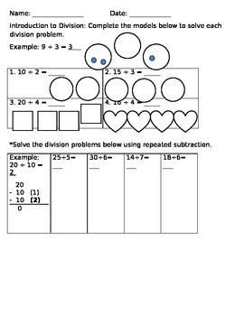 Introduction to Division worksheet