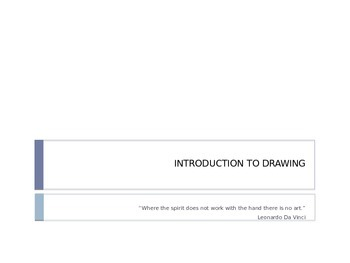 Introduction to Drawing: First Day Lesson