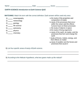 Introduction to Earth Science QUIZ or HOMEWORK