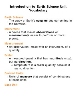 Introduction to Earth Science Unit Vocabulary Lesson Plan