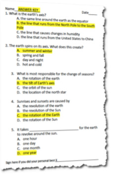 Introduction to Earths Tilt, Axis, Seasons and More! Exit Ticket Assessment