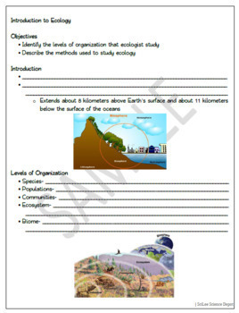 Introduction to Ecology: PowerPoint, Student Guided Notes, Worksheet