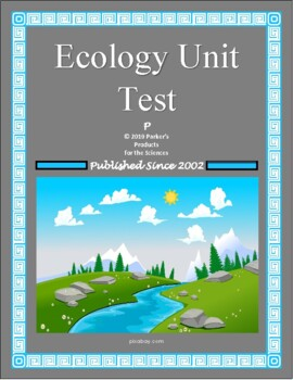 Introduction to Ecology Unit Test or Summative Study Guide