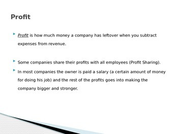 Introduction to Economic Business Principals: Revenue, Expenses and Profit