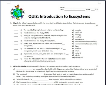Ecosystems - Quiz {Editable}