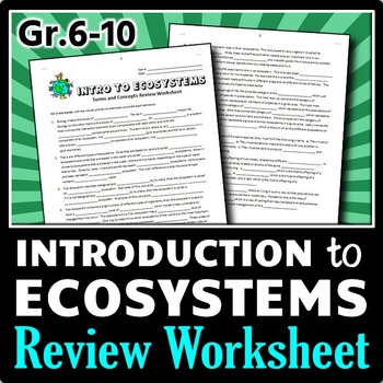 Ecosystems - Review Worksheet {Editable}