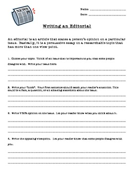 Editorial Writing for Young Writers