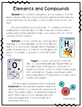 Introduction to Elements and Compounds {Reading Passage, Notes, Sort}