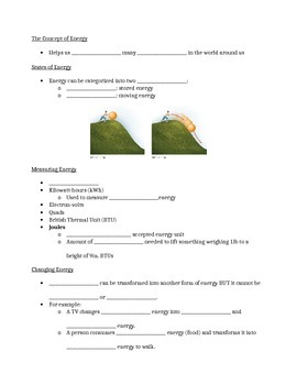 Introduction to Energy Guided Notes Worksheet