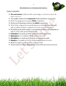 Environmental Science | Introduction to Environment | Assessment | Worksheets