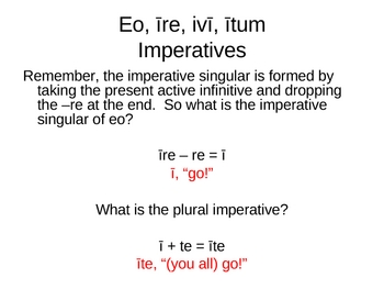 Introduction to Eo, Ire, Ivi (Ii), Itum