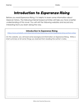 Introduction To Esperanza Rising A Pre Reading Research border=