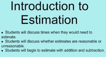 Introduction to Estimation Smartboard
