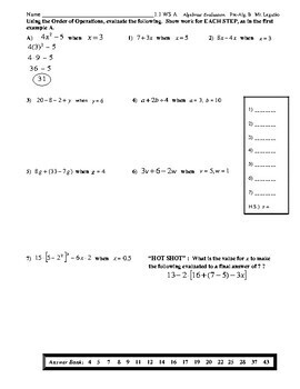 Introduction to Evaluating and Writing Algebraic Expressions (Notes, WS, PopQz)
