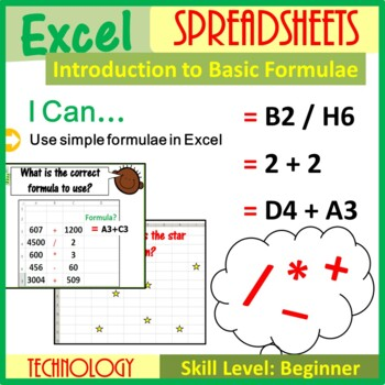 Introduction to Excel Spreadsheets & Formulae Lesson Plan (ISTE 2016 Aligned)