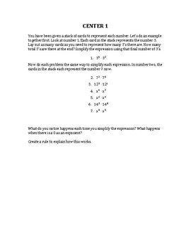 Introduction to Exponent Rules - Centers