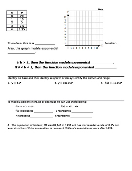 Introduction to Exponential Functions Notes