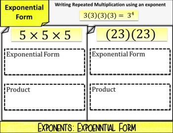 Introduction to Exponents: DIGITAL NOTES & SELF-GRADING QUIZ